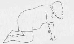 dibujo mujer embarazada de rodillas y apoyada con las manos en el suelo