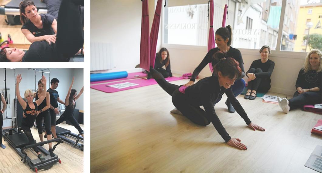 Diferentes imágenes de alumnos practicando pilates